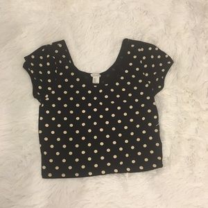 Black and white polka dot crop top